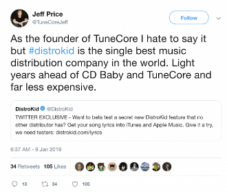 Tunecore VS DistroKid praise tweet